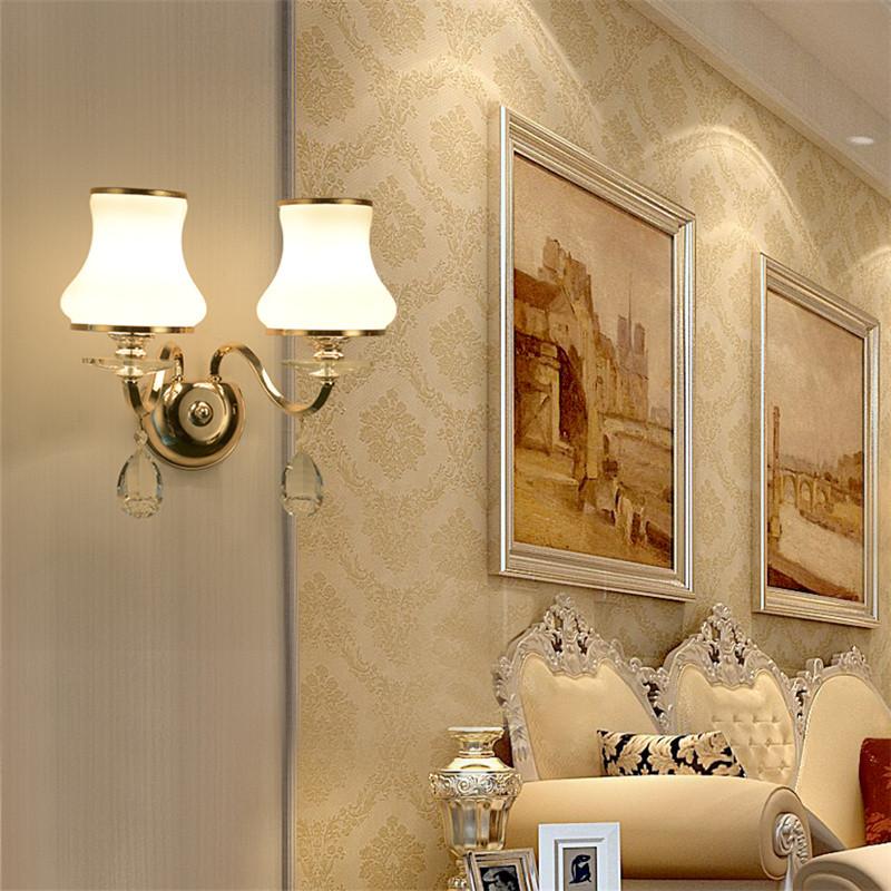 澳松欧式水晶壁灯 双头2头新古典后现代客厅卧室餐厅书房服装店楼梯