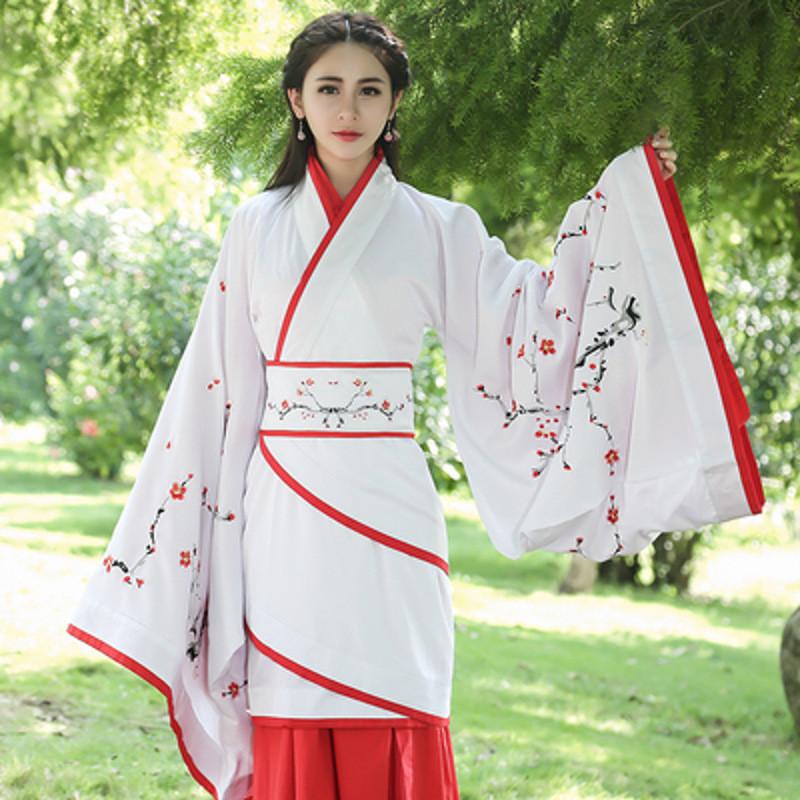 魅言魅语古风 晋魏大袖汉服 传统表演服饰 白色一剪梅图片