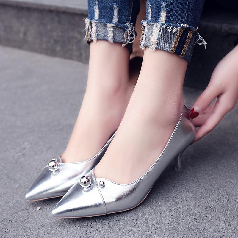 魅言魅语20172017韩版性感尖头细跟高跟鞋浅口5cm中跟