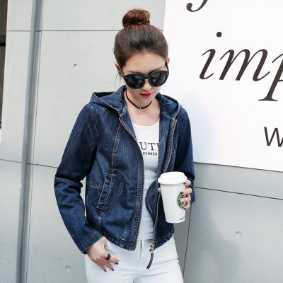 魅言魅語2020新款初春韓版學生百搭修身拉鏈長袖連帽牛仔外套女短款
