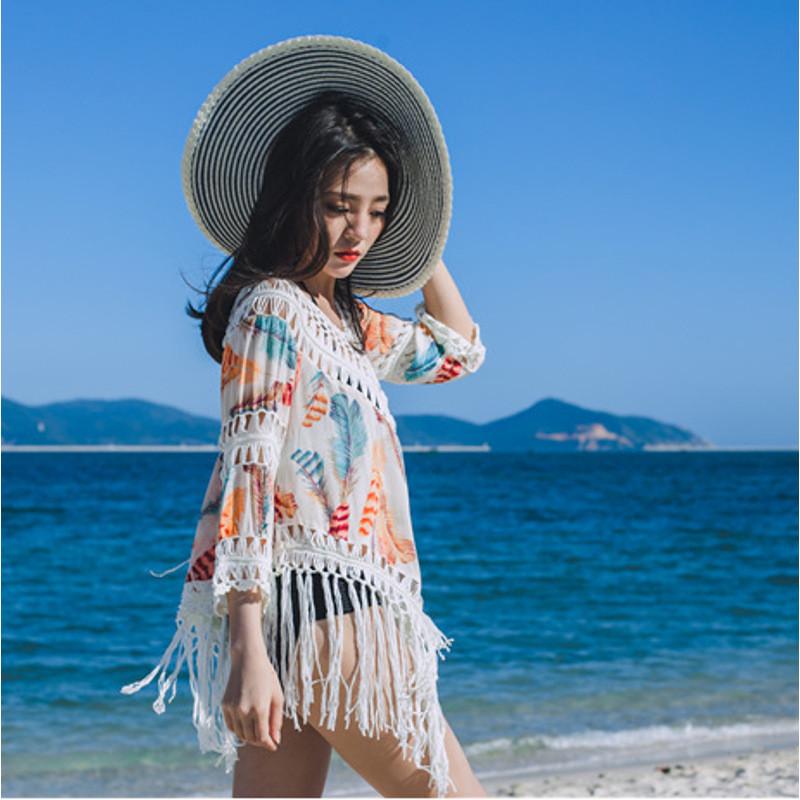 魅言魅语2017实拍夏季海边度假沙滩裙性感镂空比基尼罩衫流苏温泉泳衣