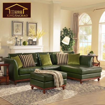 美式真皮沙发 欧式头层牛皮l形组合小户型三人皮艺全实木皮沙发