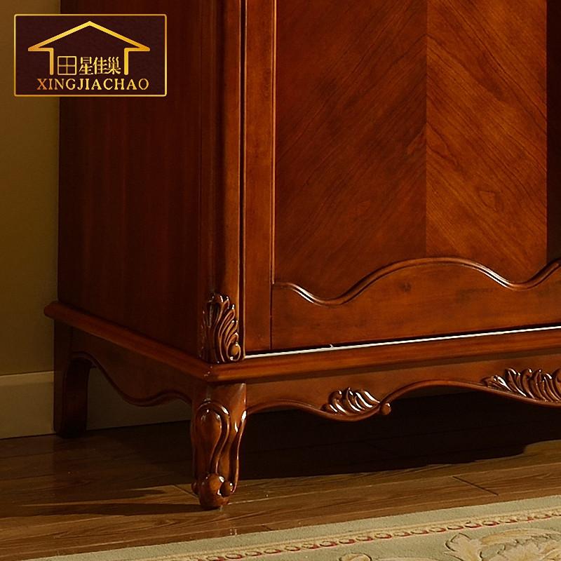 欧式整体两门衣柜推拉门 美式实木储物收纳柜子i214