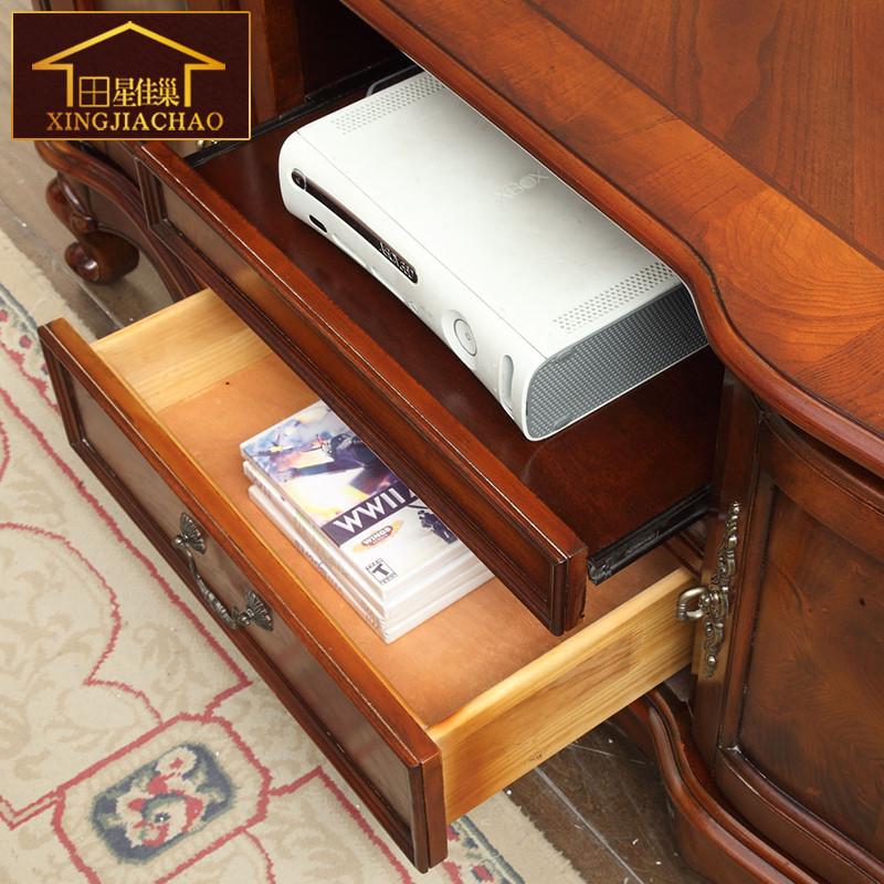 美式乡村卧室实木电视柜 欧式客厅小型电视柜 窄电视柜1.