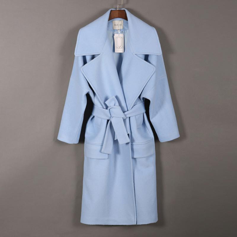 与牧2016秋冬新款欧美高端双面羊绒大衣女中长款明星同款毛呢外套