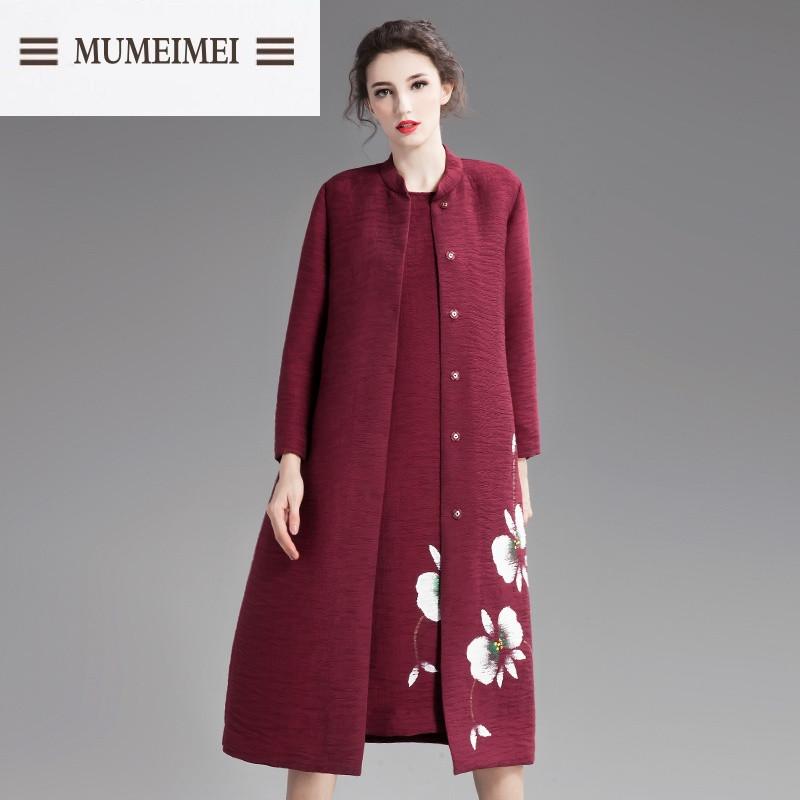 mum2016秋装新款女装时尚中国风手绘印花风衣女外套中