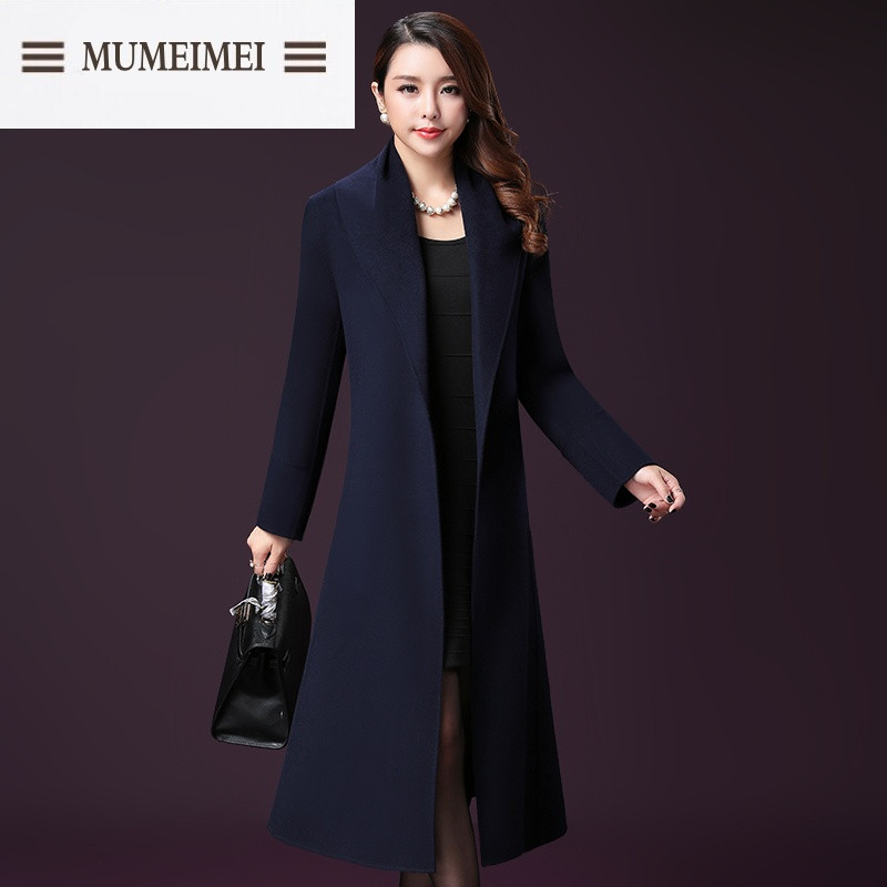 mum韩版双面羊绒大衣女中长款高端2016新款羊毛呢子大衣秋冬毛呢外套