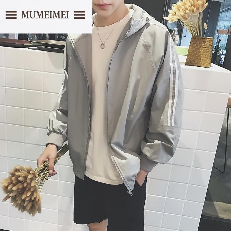 mum春装新款潮男情侣韩版运动连帽夹克林弯弯拼接时尚