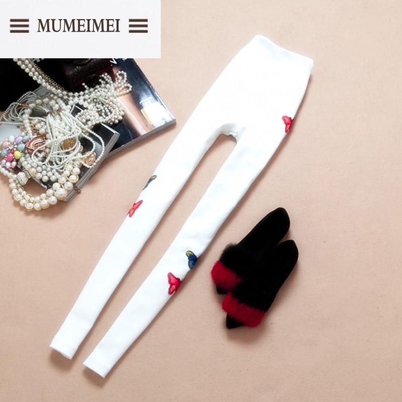 mum2016新品冬装韩版绣花蝴蝶结装饰加绒加厚保暖打底