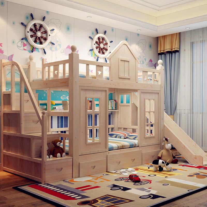 松木儿童床 上下床铺 双层床 高低床 女孩公主床 城堡屋子储物滑梯床