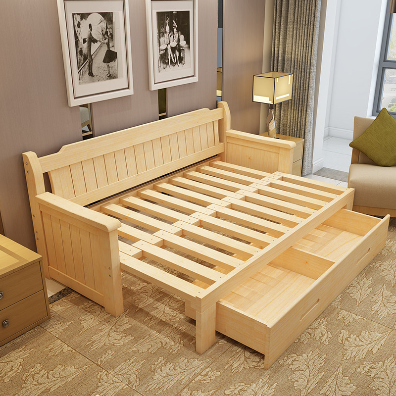 美梦居 实木沙发床 可折叠小户型多功能1.