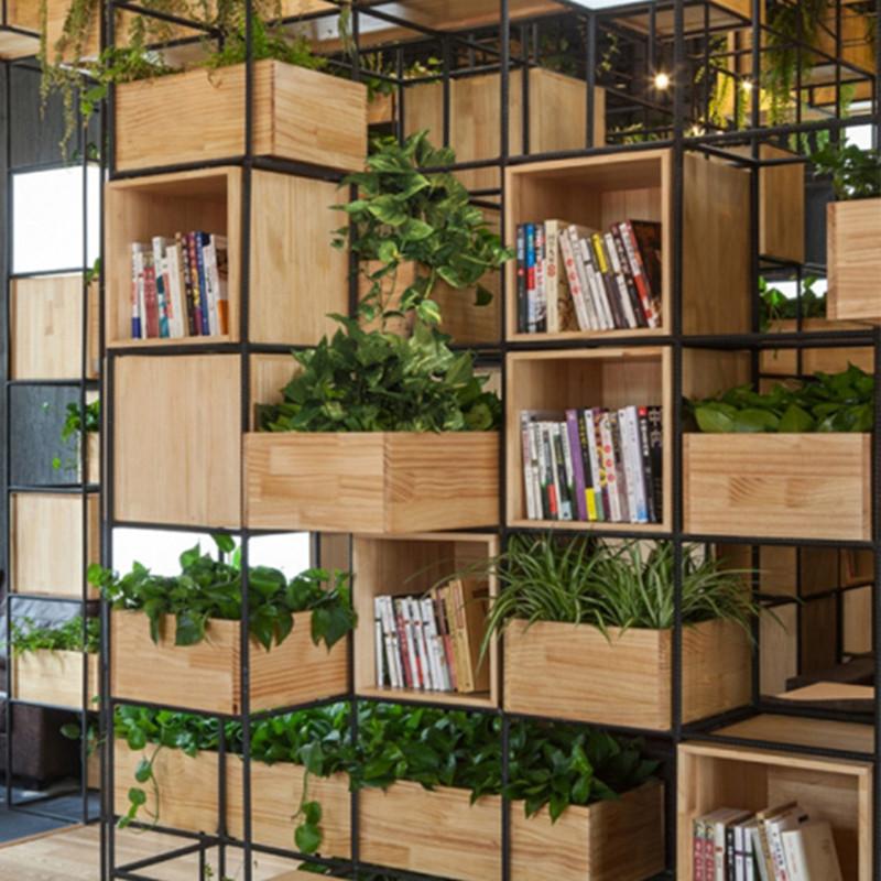 loft实木置物架客厅铁艺隔断书架花架格架时尚创意展架创意书柜图片