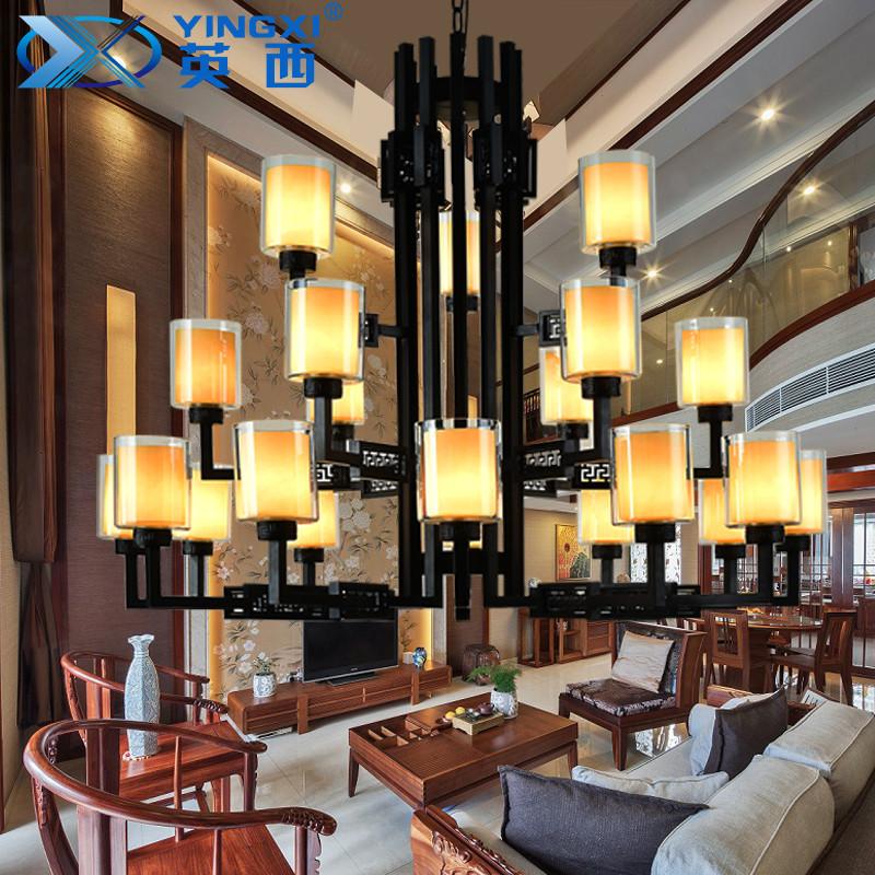 新中式别墅大吊灯楼中楼酒店大堂三层铁艺工程灯复式楼客厅跃层灯