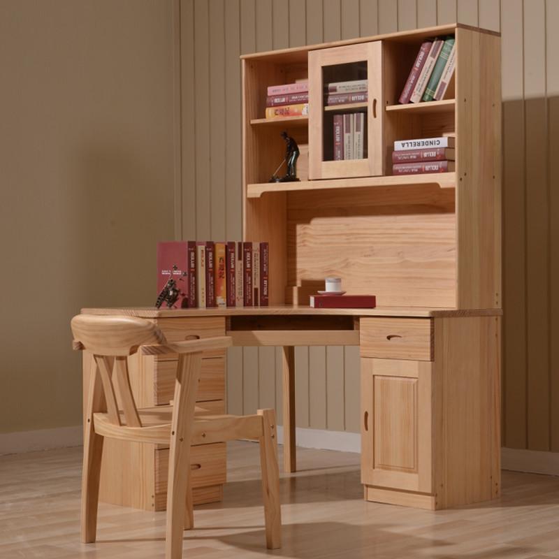 纽菲乐 实木书桌 新西兰松木转角电脑桌带书架组合 1.
