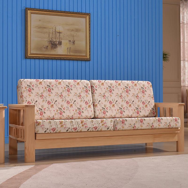 多功能折叠三人位沙发床 小户型田园韩式沙发 新西兰松木布艺沙发