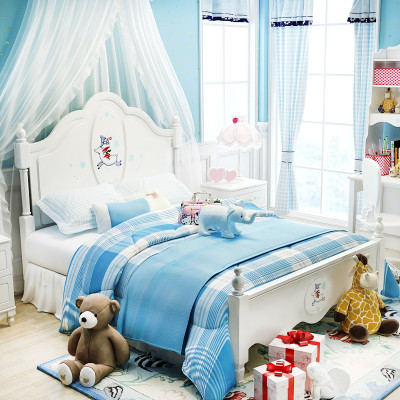 七叶木儿童床女孩单人床公主床简欧式田园床韩式床儿童房家具 雪路之