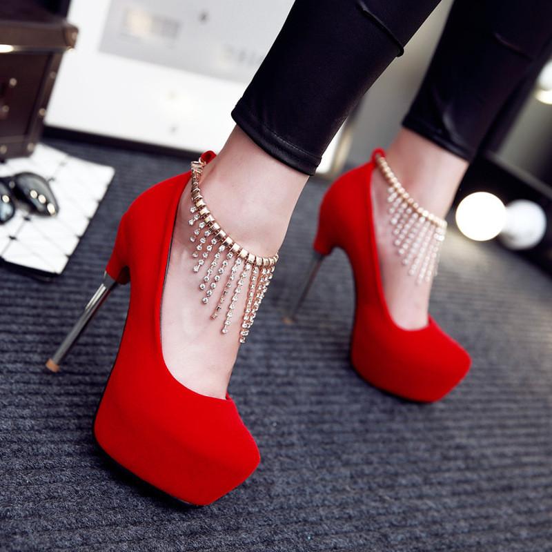新娘鞋_性感细跟婚鞋水钻婚纱白鞋夜店防水台超高跟女磨砂单鞋红色新娘鞋