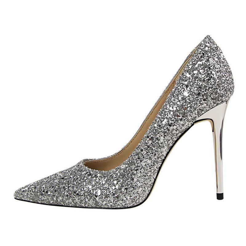 韩版春秋新款女尖头银色水晶高跟鞋性感细跟百搭金色单鞋红色婚鞋