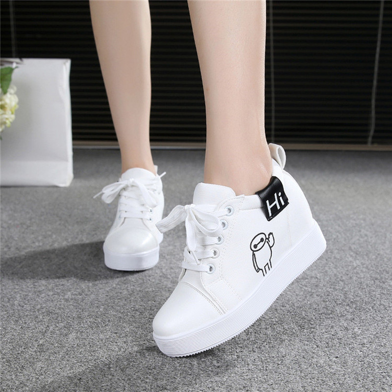 白帆布鞋怎么洗_厚底帆布鞋女内增高女鞋白色春季韩版浅口松糕鞋高跟休闲板鞋单鞋