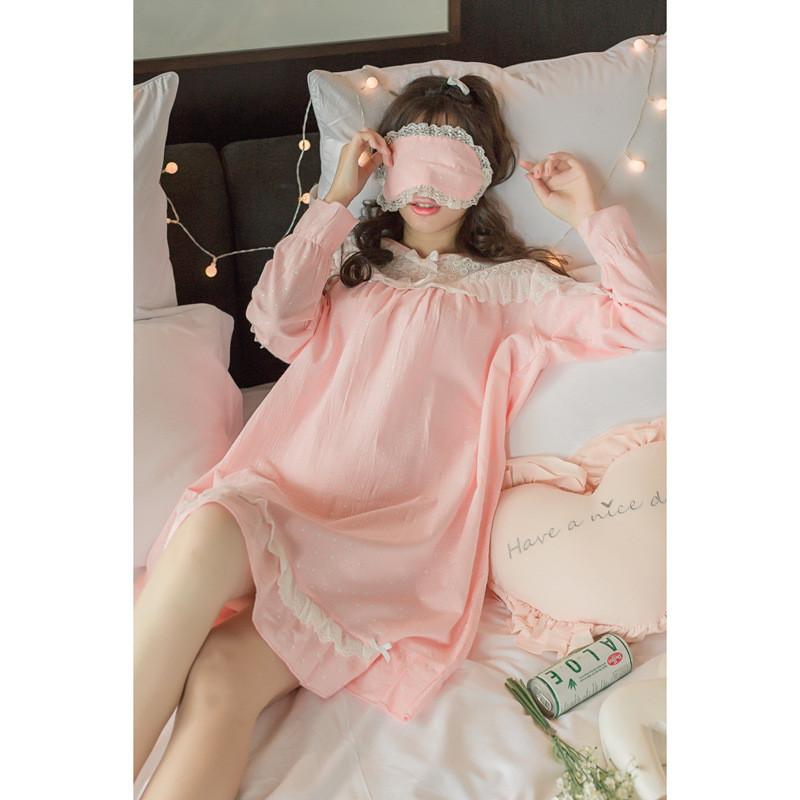 春秋季睡衣女长袖韩版公主甜美可爱清新宽松纯棉睡裙夏天棉绸薄款