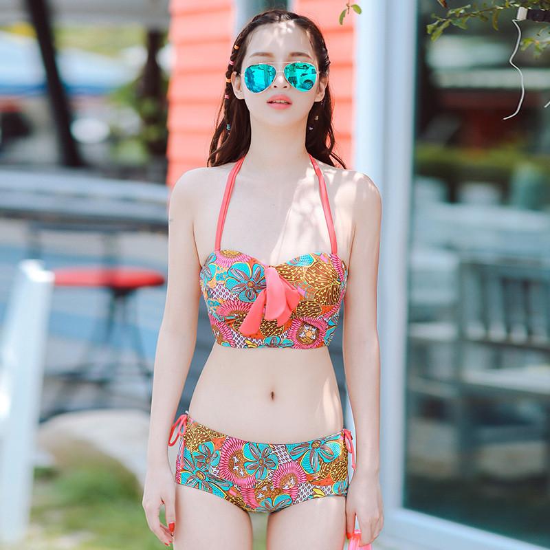 卓胜基2017新款分体泳衣女性感显瘦遮肚小胸聚拢比基尼泳衣三件套