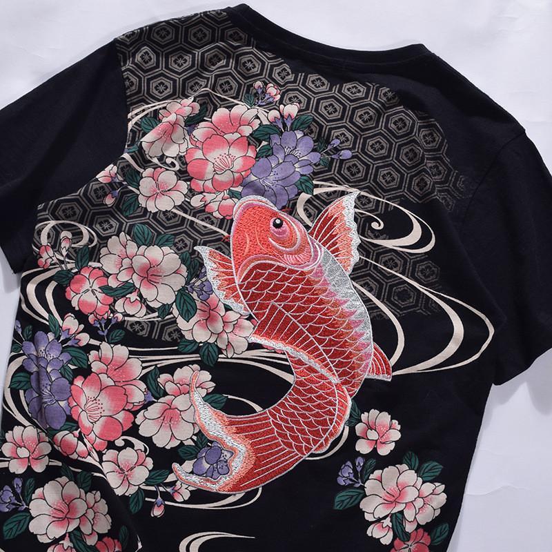 卓胜基日系浮世绘刺绣鲤鱼短袖t恤男潮牌中国风纹身体