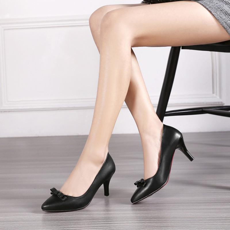 单鞋女细跟小码30313233高跟鞋浅口尖头大码40-43职业