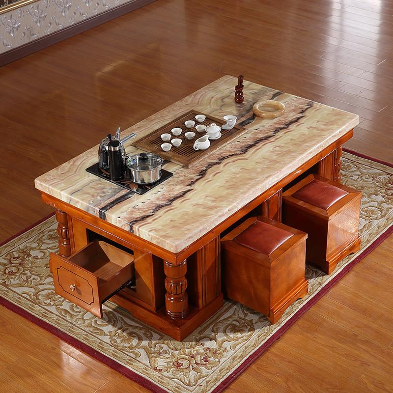琪幻 茶几大理石茶几 中式功夫茶几带自动上水茶炉 实木办公室泡茶桌