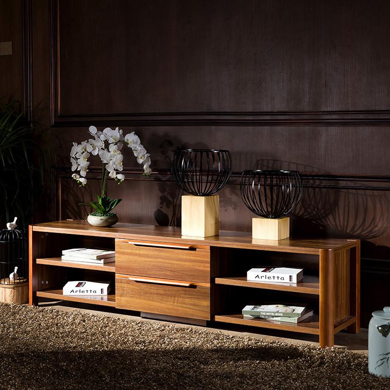 琪幻 中式实木电视柜 组合柜 客厅影视墙地柜 中式边柜