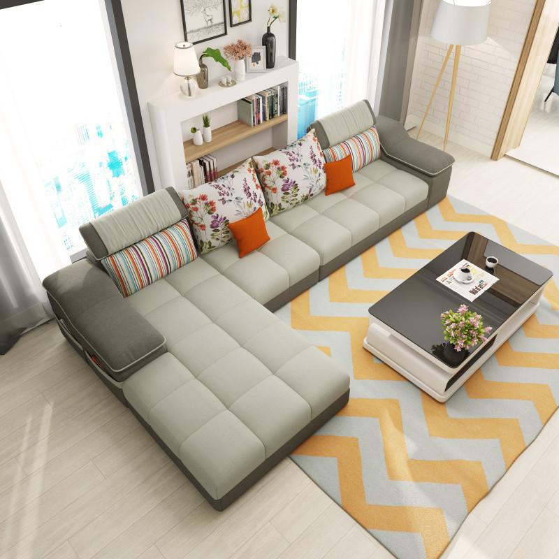 梦致美布艺沙发组合可拆洗 简约小户型沙发客厅家具转角贵妃宜家布
