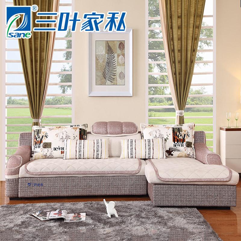 三叶家私 新品现代简约l形客厅多功能转角布艺沙发可拆洗沙发