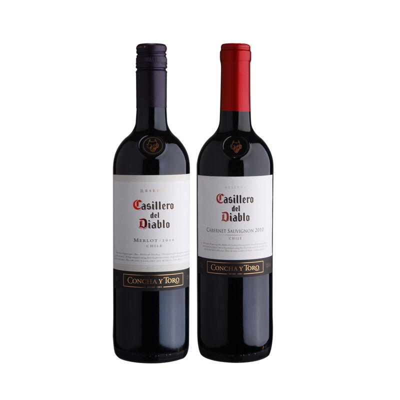 苏维�_智利进口 红魔鬼 卡本妮苏维翁/梅洛葡萄酒*2组合装 1919酒类直供