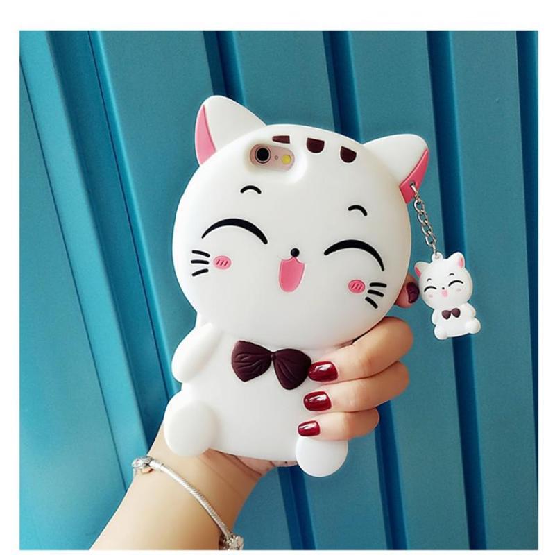 luphie 立体卡通可爱招财猫咪iphone6s手机壳苹果7plus硅胶保护套送