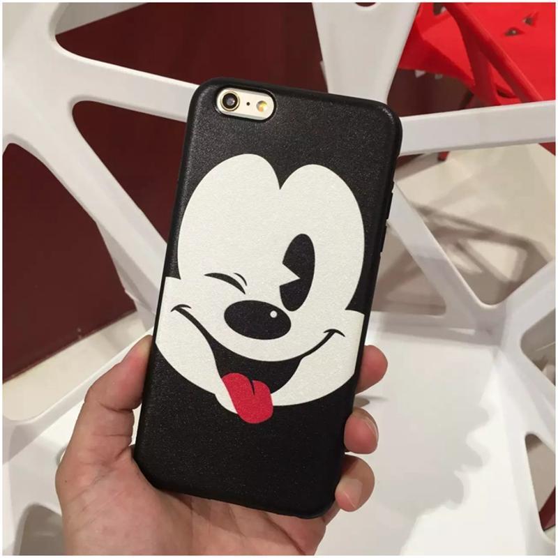 luphie 黑白米奇简约风 iphone7手机壳 苹果6splus蚕丝纹软硅胶保护套