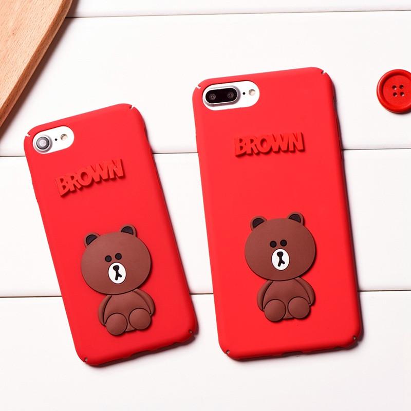 luphie 韩国东大门可爱红色小熊苹果7plus手机壳iphone6/6s全包硬壳r9