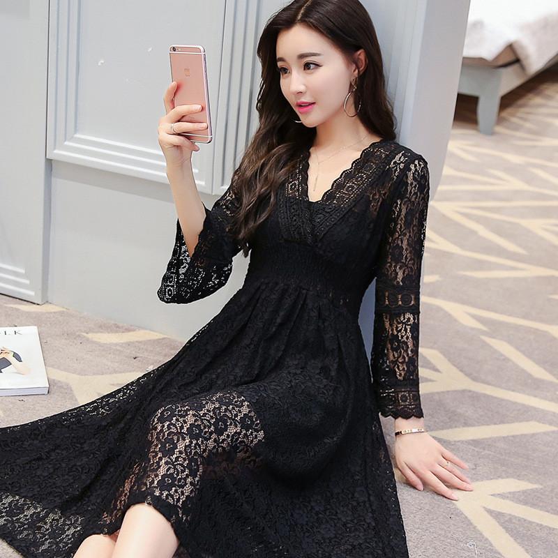 蕾丝蓬蓬裙连衣裙性感