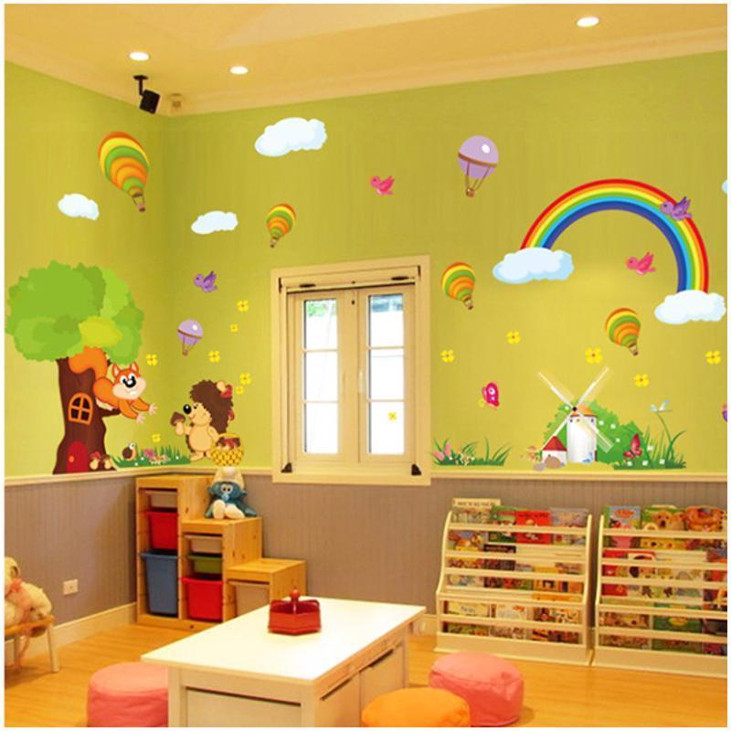 宜佳蕙超大号卡通墙贴 儿童房间幼儿园玻璃门教室装饰