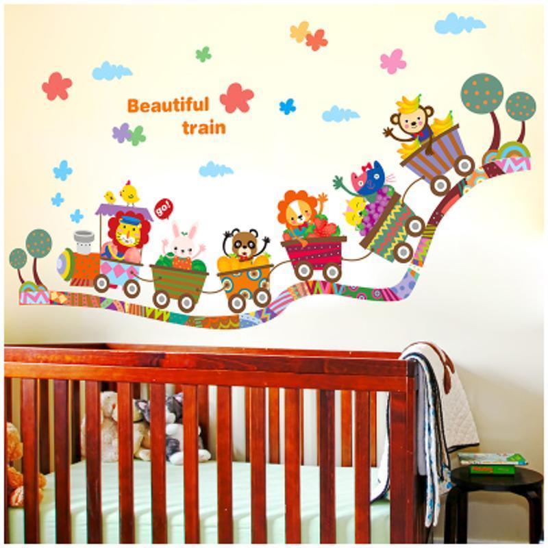 宜佳蕙可爱卡通动物火车贴纸环保卧室儿童房贴画幼儿园玻璃门窗双面墙