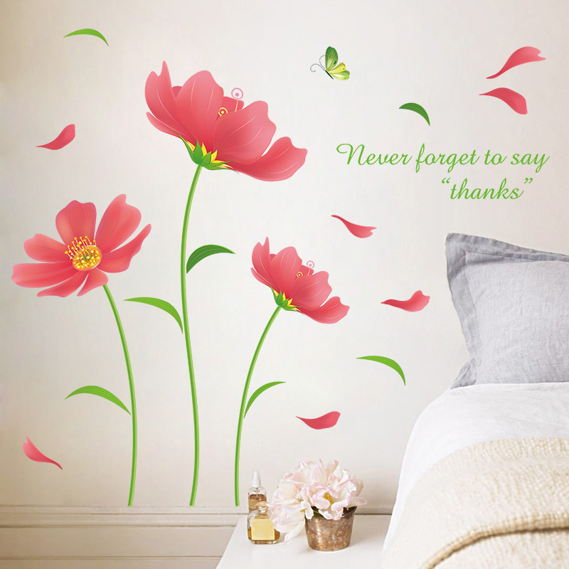浪漫唯美格桑花贴花客厅沙发背景墙贴卧室贴纸装饰墙壁包邮可移除