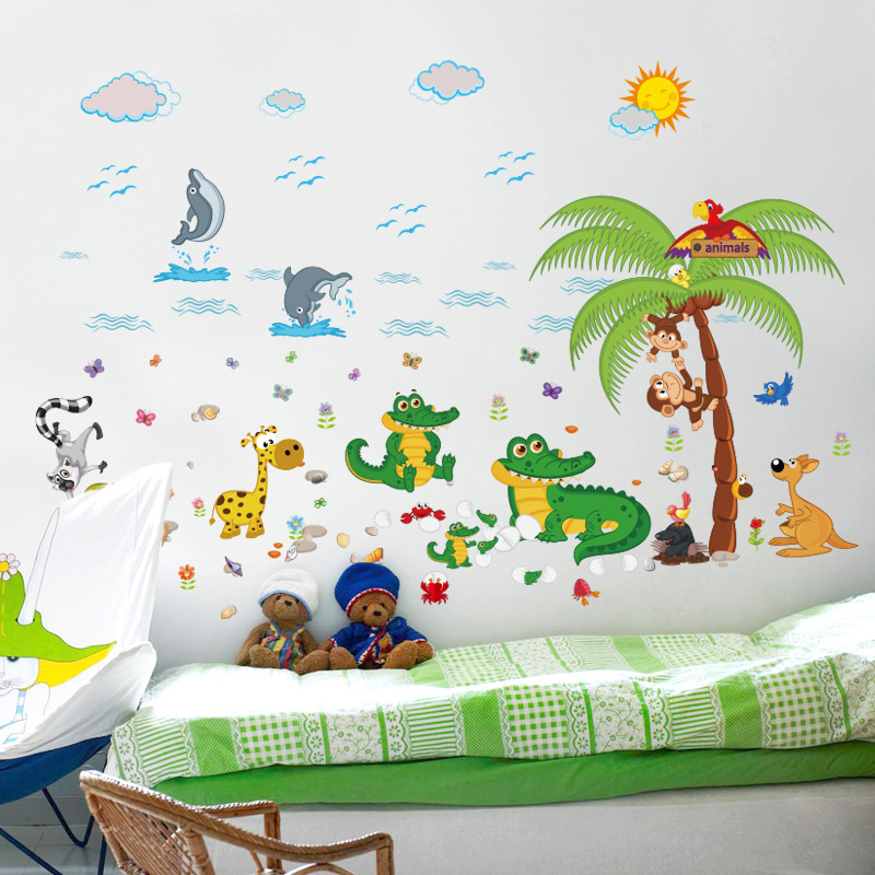 可爱卡通动物墙贴可移除宝宝卧室儿童房装饰贴画幼儿园教室贴纸