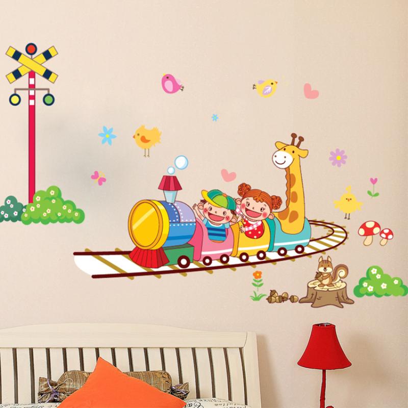 可爱卡通 小动物火车 儿童房幼儿园装饰贴画环保可移除墙贴纸