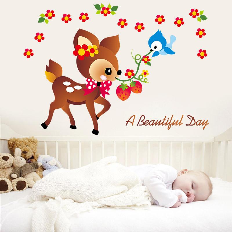可移除可爱卡通小鹿墙贴 儿童房幼儿园客厅卧室宝宝房间装饰贴纸