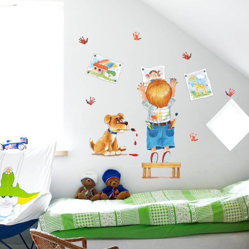 儿童房间卧室装饰品涂鸦卡通小狗墙贴绘画画贴可移除防水人物贴纸
