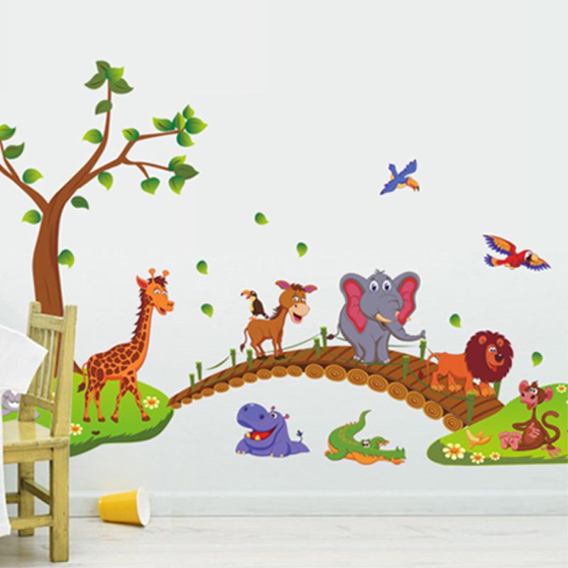 卡通可爱动物木桥墙贴纸儿童房间背景墙上家装饰品幼儿园墙壁贴画