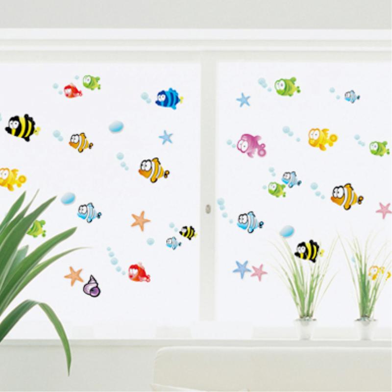 可移除墙贴纸儿童房间装饰幼儿园教室布置背景墙面贴画卡通小鱼
