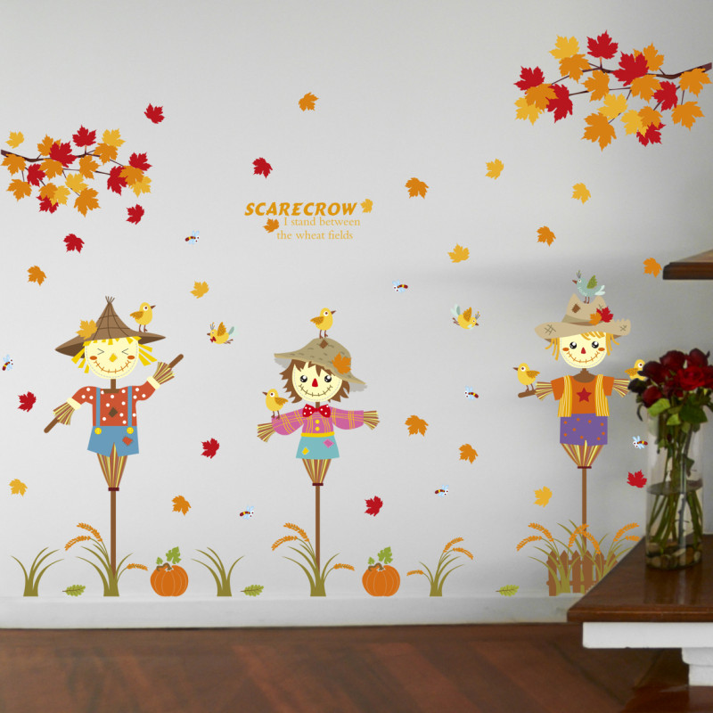 搞怪卡通枫叶稻草人墙贴纸 田园风儿童房幼儿园客厅可图片