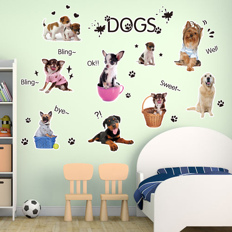 宠物店可爱动物儿童房狗狗墙贴宠物狗拉布拉多贵宾金毛墙贴纸贴画4