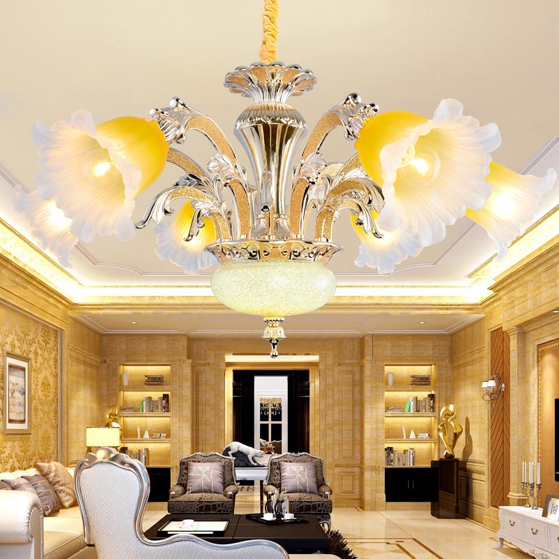 欧式锌合金客厅卧室花朵吊灯 复古典雅别墅酒店大堂灯具 62153
