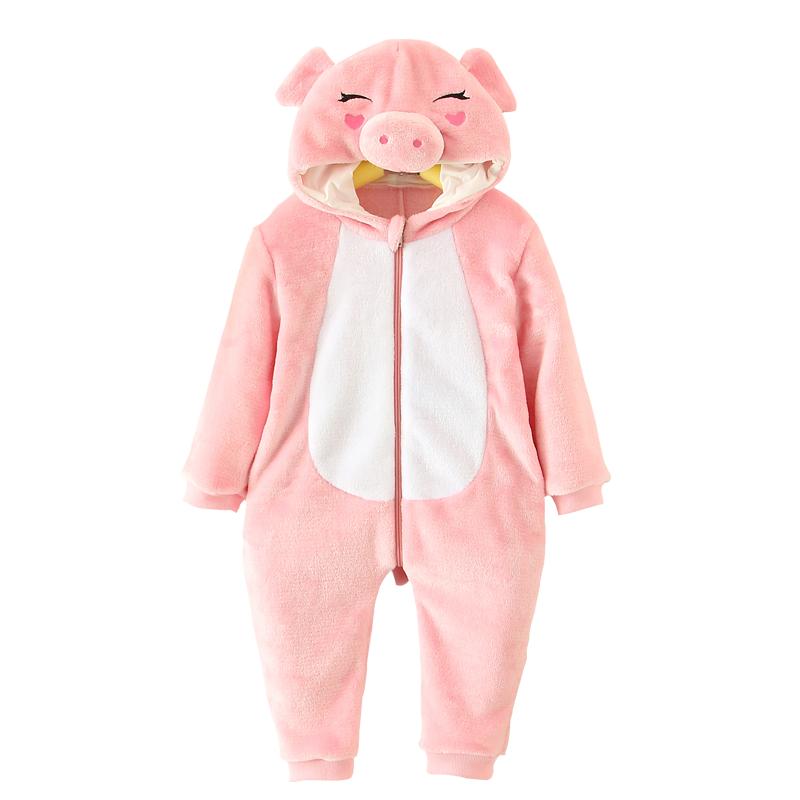才首冬款加厚可爱动物粉色小猪爬爬服睡衣