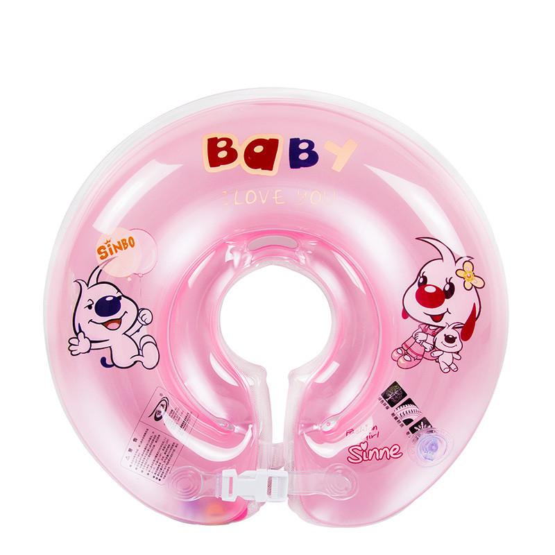 宝宝脖子圈婴儿童颈圈水泡婴儿脖圈泳圈救生圈浮圈 粉色大码6-24个月